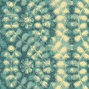 W108612 Extra Wide Cotton Fabric - Climbing Vine Cream on Teal